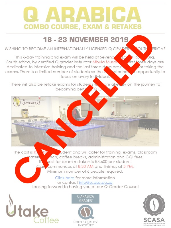 CANCELLED - November 2019 - Q Arabica Course @ Sevenoaks Trading